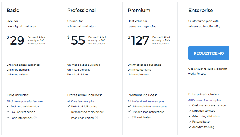 Instapage Support Personal Services Pricing
